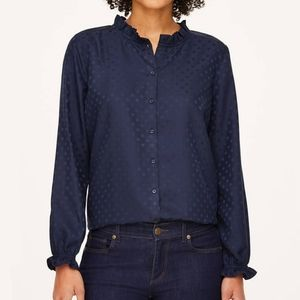 LOFT navy ruffle neck button down shirt top XL